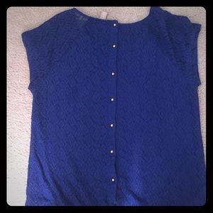 Banana Republic Cobalt Blue Lace Blouse XL
